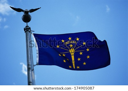 This is the State Flag waving in the wind. it is on a flagpole against a blue sky. It has stars surrounding a symbol at the center. - stock photo