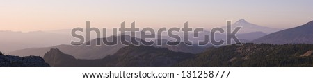 This is the view coming down the trail looking at Mount Hood in the Distance Viewed From Park Butte Oregon - stock photo