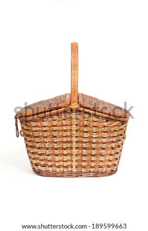 This is the wicker willow pannier in  white background - stock photo
