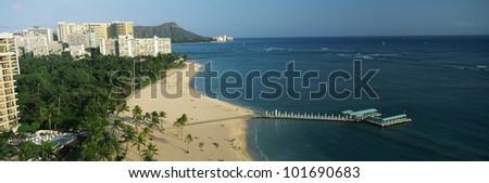 This is Waikiki Beach and Diamond Head Volcano in Honolulu. - stock photo