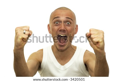 This man just won an enormous amount of money and is sooo happy. - stock photo