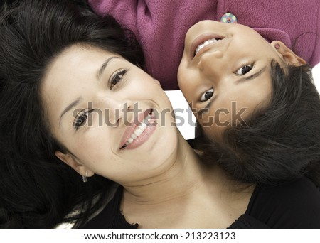 This mother and daughter are happy and they look fresh  - stock photo