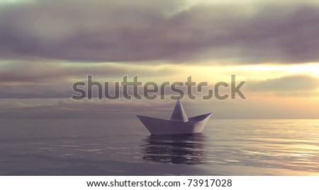 This paper boat sailing towards the unknown. - stock photo