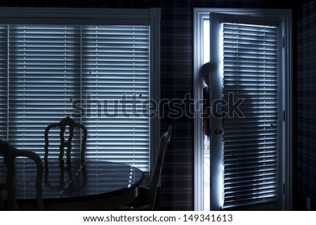 This photo illustrates a home break in at night through a back door from inside the residence. - stock photo