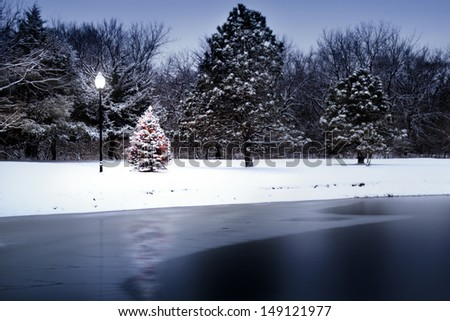 This photo illustration of a Snow Covered Christmas Tree that stands out brightly against the dark blue tones of this frozen lake almost appears magical as it illuminates this scene. - stock photo