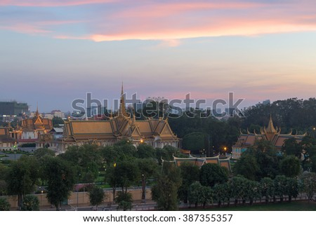 This photo was shot from the Royal Palace in Phnom Penh, Cambodia in the evening after sunset. It was constructed over a century ago to serve as the residence of the King of Cambodia. - stock photo