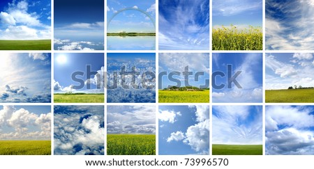 This picture is made of nine different types of clouds. Very good as illustration. - stock photo