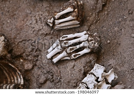 This pre-incan mummy is preserved by the dry desert air with hair intact. Skulls and bones in Chauchilla, an ancient cemetery in the desert of Nazca, Peru. - stock photo