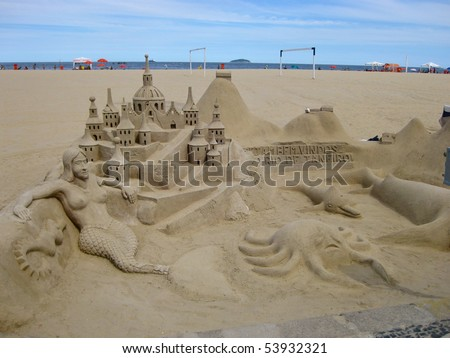 This sand sculpture was in Copacabana/Ipanema - stock photo