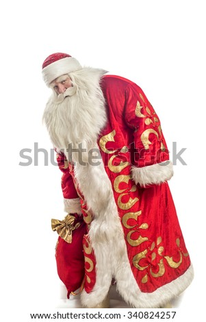 This Santa Claus congratulates on a white background - stock photo