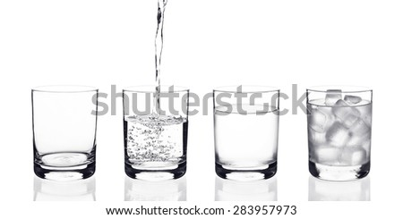 This set of glass included : empty glass, water pouring, cold water and glass of water with ice - stock photo