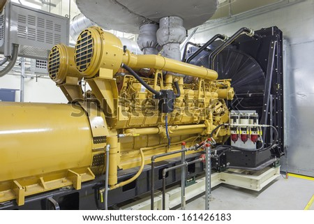 This standby diesel generator unit has a unit mounted radiator and fuel filter system.  - stock photo