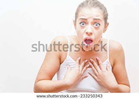 this theatrical gesture means that she ask if you really think she did something wrong and of course imply that she did nothing - stock photo