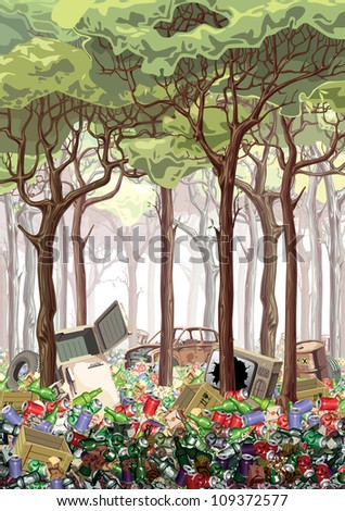 This work is about industrial nature pollution. The green forest is flooded with a garbage. It looks like a complete poster on the ecological theme. Editable vector EPS v9.0 - stock photo