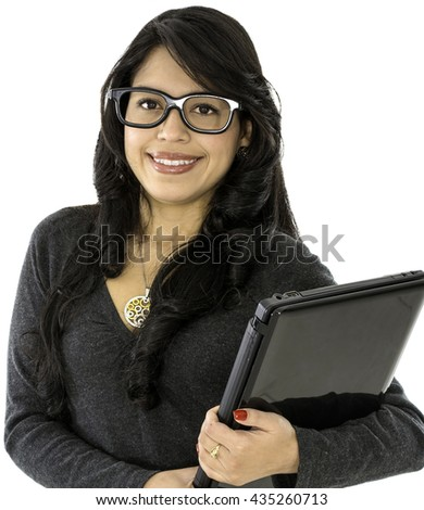 This young lady wear a glasses and hold a computer on her hands - stock photo
