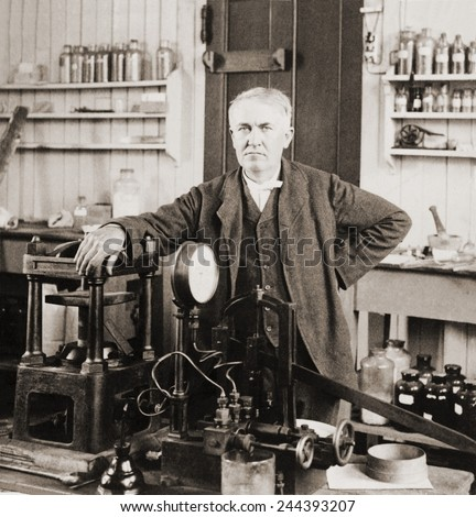 Thomas A. Edison (1847-1931), in his West Orange, New Jersey, laboratory, ca. 1901. - stock photo