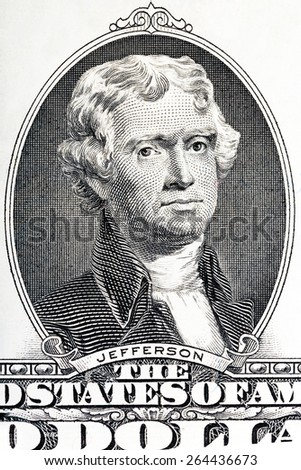 Thomas Jefferson close-up on the two U.S. dollar note. - stock photo