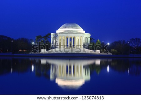 Thomas Jefferson Memorial at dawn, Washington DC - stock photo