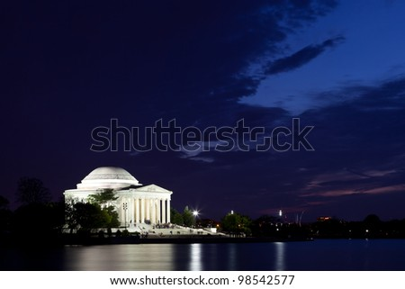 Thomas Jefferson Memorial with reflecting in the Tidal Basin in Washington DC at dusk shortly after sunset with dramatic skies - stock photo