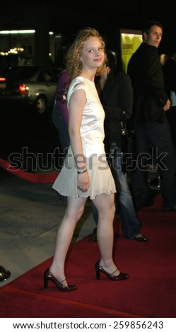 """Thora Birch at the """"Sideways"""" Los Angeles Premiere held at the Academy of Motion Pictures Arts and Sciences in Beverly Hills, California United States on October 12 2004. - stock photo"""