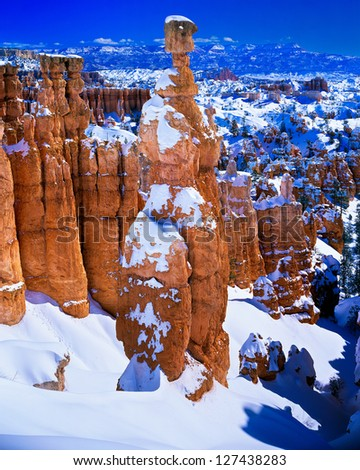 Thors Hammer Covered in Snow, Bryce Canyon National Park, Utah - stock photo