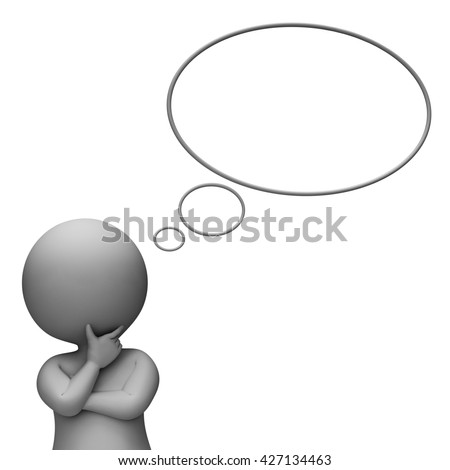 Thought Bubble Showing Think About It And Illustration 3d Rendering - stock photo