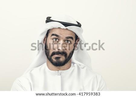 Thoughtful Arabian Businessman, Arabian Businessman confused  - stock photo