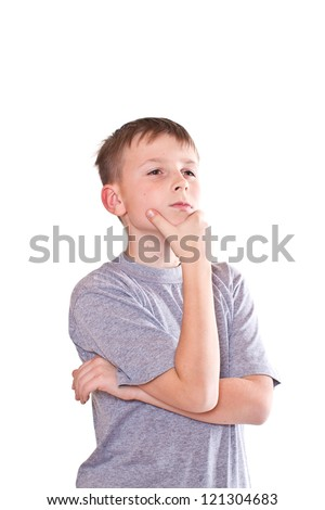 thoughtful boy teenager on a white background - stock photo