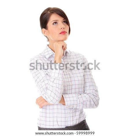 Thoughtful business woman portrait isolated over a white background - stock photo
