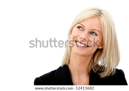 Thoughtful business woman smiling isolated over a white background - stock photo