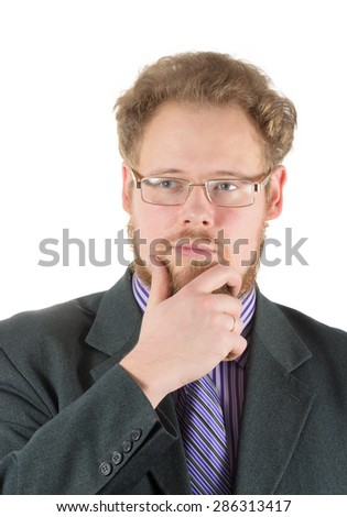 thoughtful businessman in glasses - stock photo