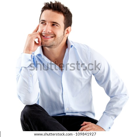 Thoughtful businessman - isolated over a white background - stock photo
