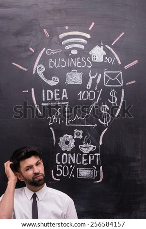 Thoughtful businessman on chalkboard background looking at camera. Painted lightbulb with business ideas on chalkboard. Concept for success - stock photo