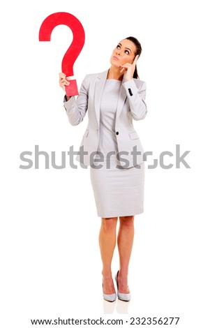 thoughtful businesswoman with red question mark symbol - stock photo