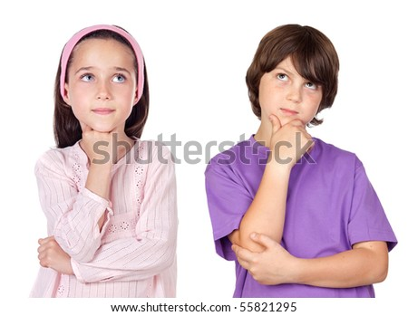 Thoughtful children isolated on white background - stock photo