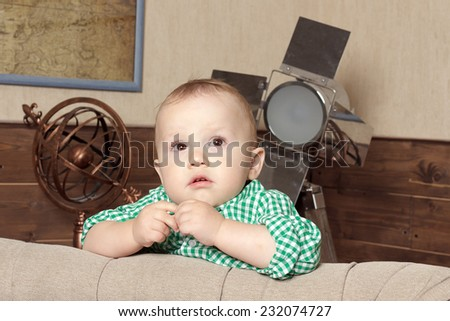 Thoughtful Cute Kid dreaming - stock photo