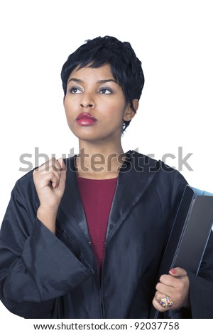 Thoughtful female lawyer a vertical portrait in black robe holding file - stock photo