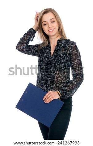 Thoughtful girl businessman in dark blouse isolated on a white background. Successful business woman - stock photo