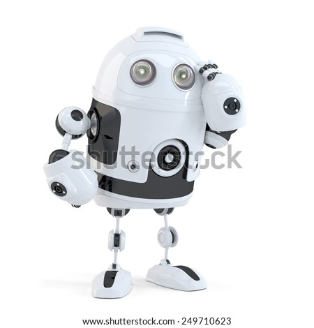 Thoughtful handsome robot. Isolated over white background. Contains clipping path - stock photo