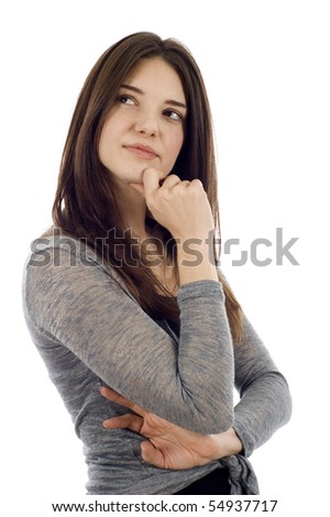 Thoughtful woman looking up at copyspace isolated over white background - stock photo