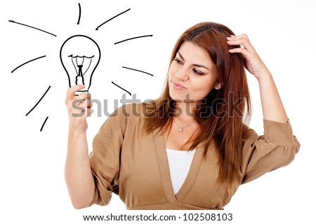 Thoughtful woman with an idea - isolated over a white background - stock photo