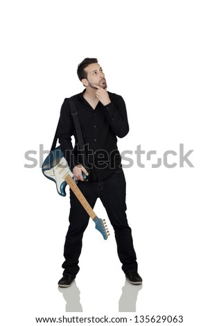 Thoughtful Young Man With Guitar Isolated Over White Background - stock photo