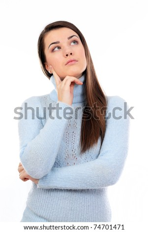 Thoughtful young woman, isolated over a white background - stock photo