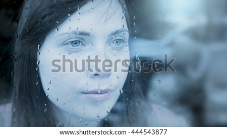 thoughtful young women looking into the future thinking about life - stock photo
