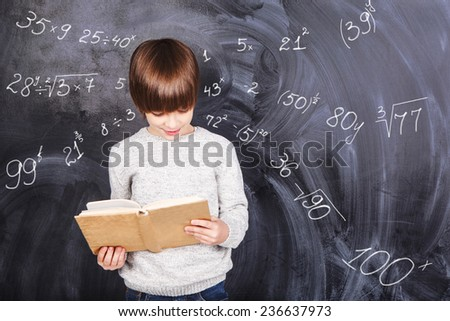 Thoughts of children against the black chalkboards - stock photo