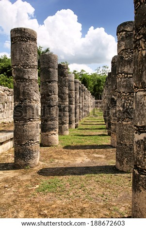 Thousand Columns Group,  Chichen Itza, Mexico - stock photo