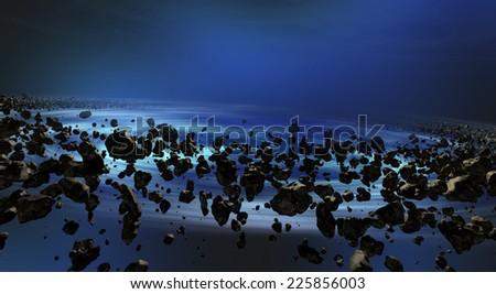 Thousands of asteroids, black hole, turbulence, twirl, stars - stock photo