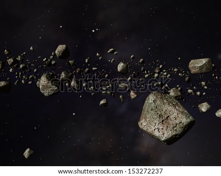 Thousands of asteroids in a far off orbit around the sun - stock photo