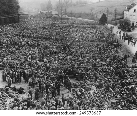 Thousands of German POWs captured by American Airborne troops in the Ruhr. 1945, during World War 2. - stock photo