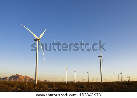 Thousands of wind turbines, in California. - stock photo